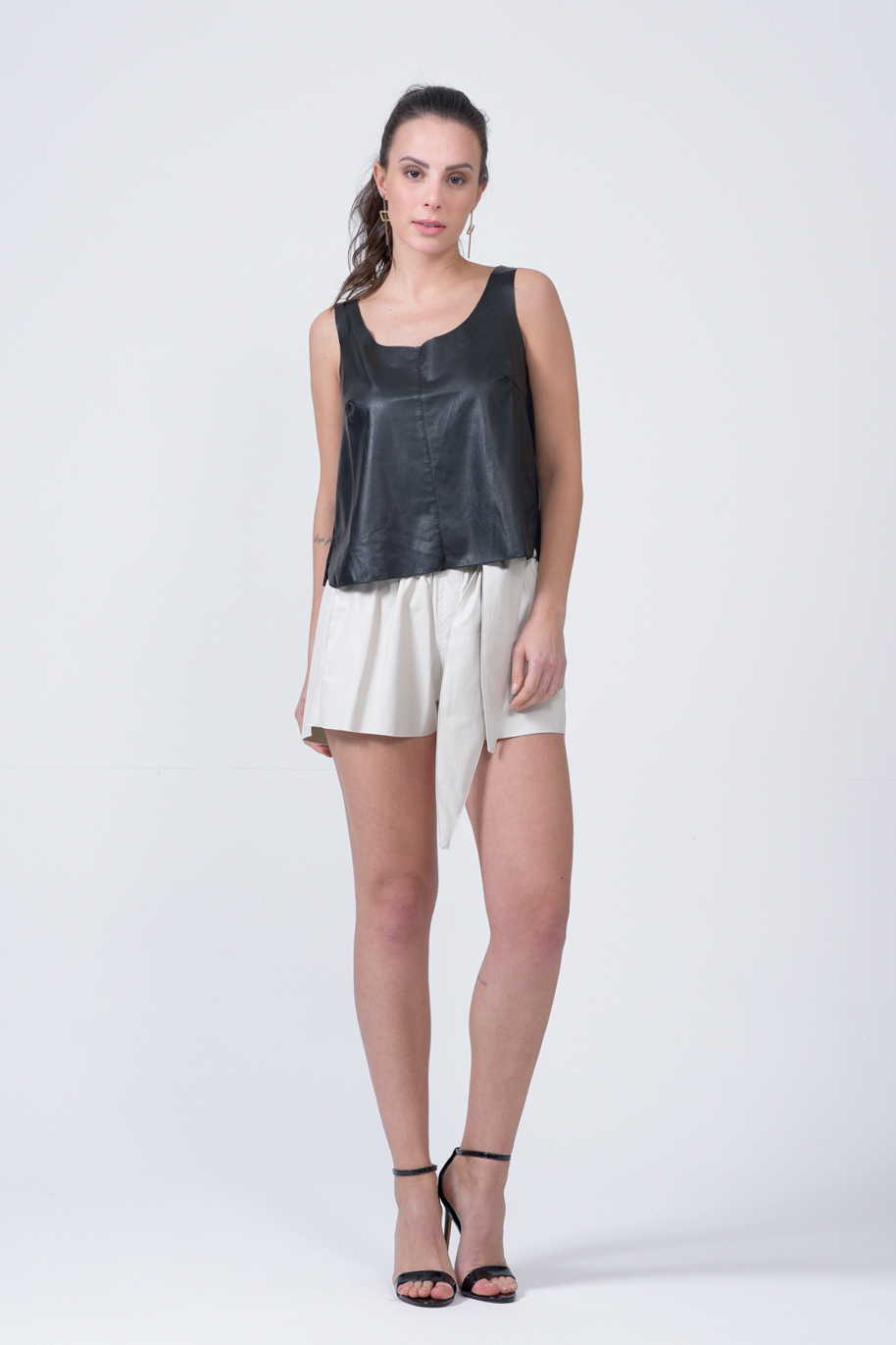 TOP CROPPED LEATHER SKIN E INDRYA frente